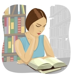 Serious young student reading a book in a library vector