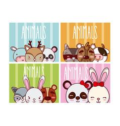Set of cute animals cartoons vector