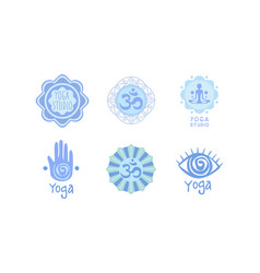 set of original logos for yoga studio or vector image