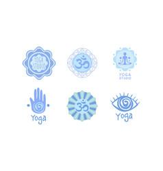 set of original logos for yoga studio vector image