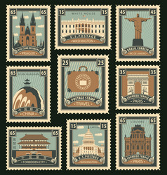 set of postage stamps on the travel theme vector image