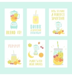 Set of six different smoothie cards vector