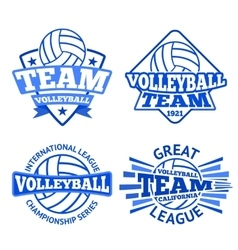 set volleyball badges logo templates vector image