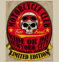 Skull t shirt motorcycle graphic design vector