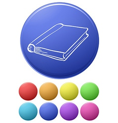 Small buttons and a big button with a notebook vector