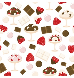 Strawberry and chocolate ice cream pattern vector image