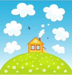 Summer house on the hill vector image