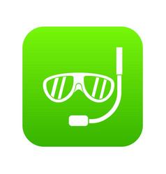 swimming mask icon digital green vector image