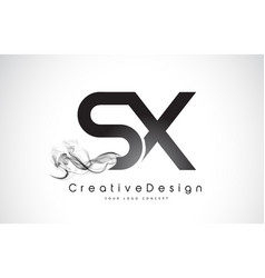 Sx letter logo design with black smoke vector