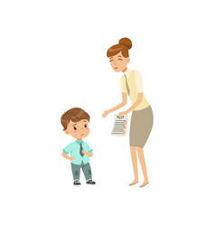 teacher showing bad grades to sad little boy vector image