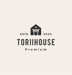 torii house hipster vintage logo icon vector image