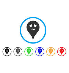 Trouble smiley map marker rounded icon vector