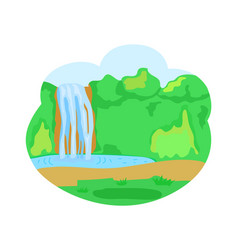 waterfall lake nature with greenery and trees vector image
