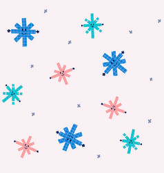 winter hand drawn hug snowflakes seamless pattern vector image