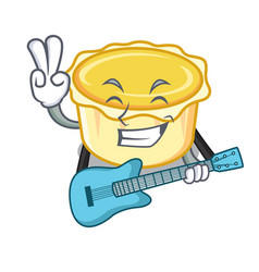 With guitar egg tart mascot cartoon vector