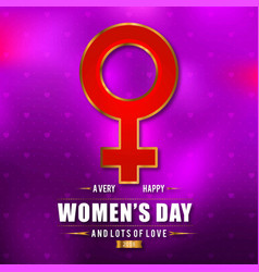 womens day typogrpahic card with pink pattern vector image
