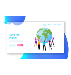 world in hands landing page template male and vector image