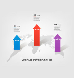 world map arrow growth infographics step by step vector image