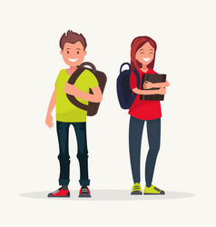 young couple students couple students vector image