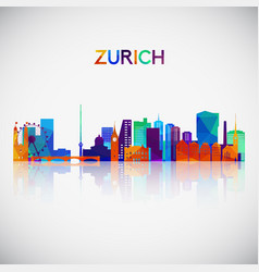 zurich skyline silhouette in colorful geometric vector image