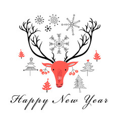 Christmas card with a portrait of a deer vector