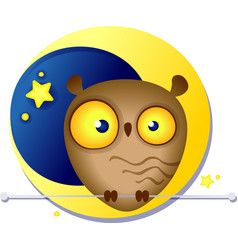 cute funny owl on the background of the moon vector image vector image