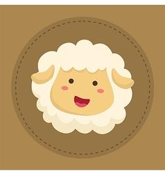 Cute Sheep Smiling in Brown Circle vector image vector image