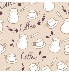 Doodle coffee seamless pattern with letteringHand vector image vector image