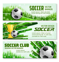 Football sport 3d banner of soccer ball and trophy vector
