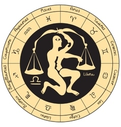 Libra with the signs of the zodiac vector