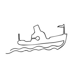 one continuous line steamship boat on waves with vector image