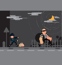 police and dog chase thief vector image vector image