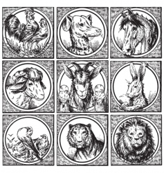 set of antique animals engravings vector image vector image