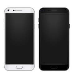 set of black and white smart phone with empty vector image