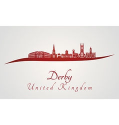 Derby skyline in red vector image