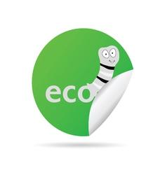 eco worm sticker vector image vector image