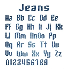 Jeans alphabet letters number vector image