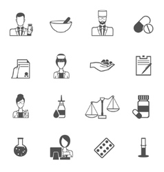 Pharmacist icon black set vector image vector image