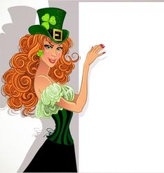 Pretty slim red-haired girl Leprechaun hold banner vector image