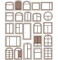 set isolated windows silhouette vector image