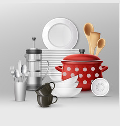 set of kitchenware vector image vector image