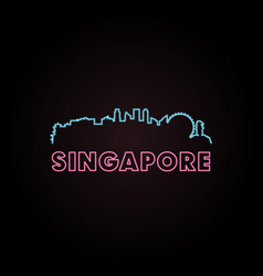 singapore skyline neon style vector image