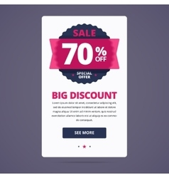 Big discount card with 70 percent off stamp vector image