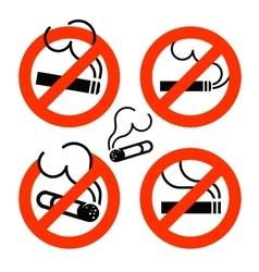 Cigarette icons set No Smoking prohibition sign vector image