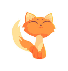 funny red kitten sitting on the floor with closed vector image vector image