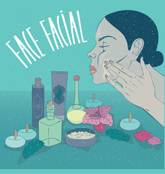 girl puts on face cream or mask for skin care vector image