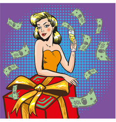 rich successful woman pop vector image