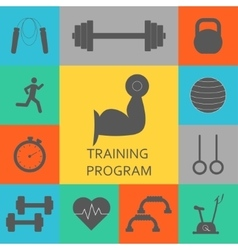 Set of training program icons Sport vector image