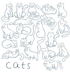hand drawn set of cats in different poses vector image