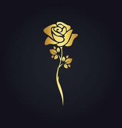 Rose flower plant gold logo vector